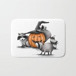 Raccoons and Jack-O-Lanterns Bath Mat