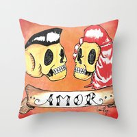 rockabilly Throw Pillows featuring Amor Rockabilly by El Catrin Arte