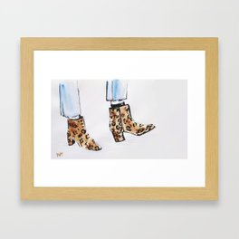 Leopard Boots Framed Art Print