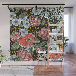 Retro Vintage Floral Arrangement On Black Background Wall Mural