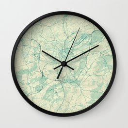 Luxembourg Map Blue Vintage Wall Clock