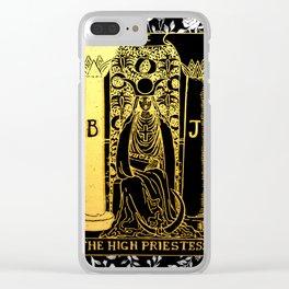 Floral Tarot Print - The High Priestess Clear iPhone Case