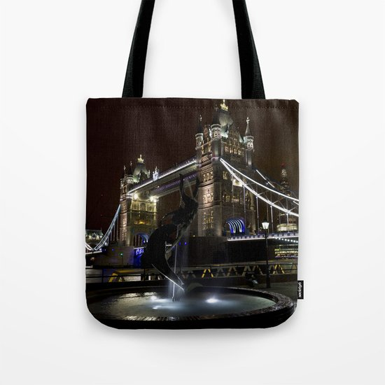 Girl and dolphin and Tower Bridge Tote Bag