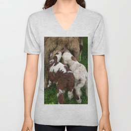 Twin Lambs Suckling From Their Mother Unisex V-Neck