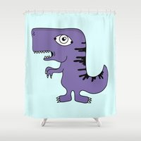 dino Shower Curtains featuring Dino by juditpolo