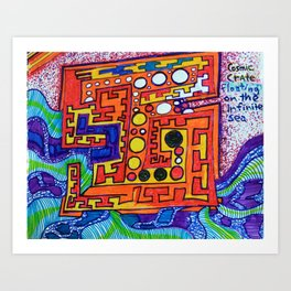 """Alan J Eichman Abstract 0030 """"cosmic crate floating on the infinite sea"""" Art Print"""