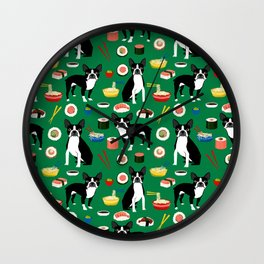 Boston Terrier sushi funny dog art pattern gifts for dog lover pet portrait Wall Clock