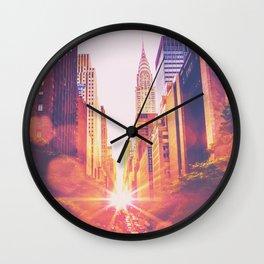 New York City Bokeh Sunset Wall Clock