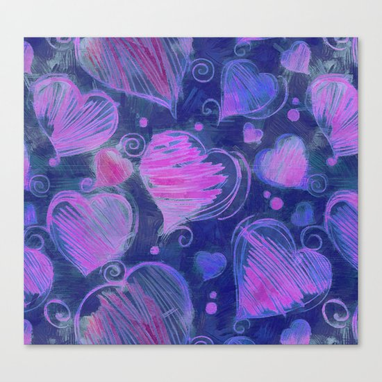 Deep pink and blue hand drawn hearts pattern Canvas Print