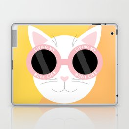 Living My Best Life - White Cat Laptop & iPad Skin