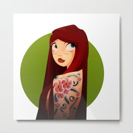 the girl with the flower tattoo Metal Print
