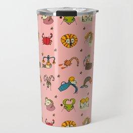 Retro Zodiac Pink #astrology Travel Mug
