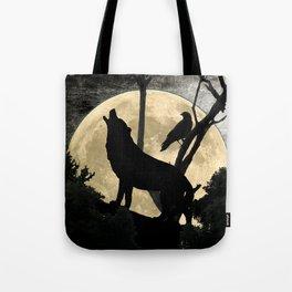 Howling Wolf Crow Moon Animal Black Bird Silhouette Art A388 Tote Bag