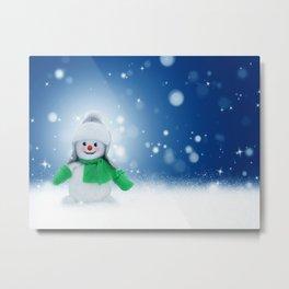 Snowman Wishes Metal Print