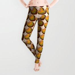 Retro funky 70s 3D cones brown, orange Leggings