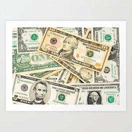 dollar bills Art Print