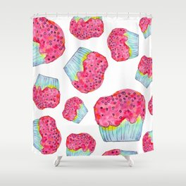 The Sky Is The Limit inspirational typography positive quote cake illustration watercolor painting Shower Curtain