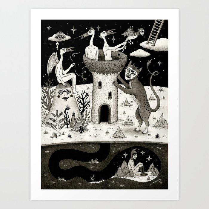 Scissors, String and Solitude  Art Print