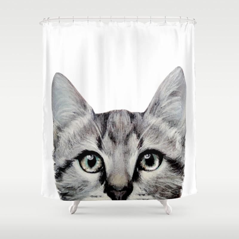 Cat American Short Hair Illustration Original Painting Print Shower Curtain By Miartdesigncreation Society6