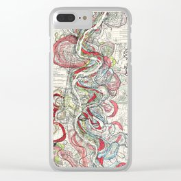 Beautiful Vintage Map of the Mississippi River Clear iPhone Case