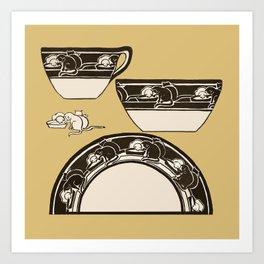 Arts & Crafts Pottery Porcelain Artwork Design Cup & Saucer with Cats Art Print