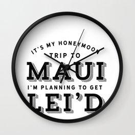 Maui Honeymoon Trip Just Married Hawaii Wedding Gift Wall Clock