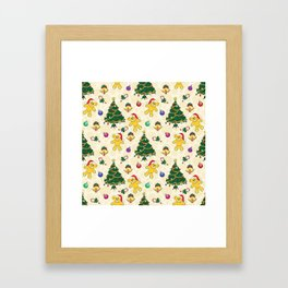Christmas bear,bells and tree SB3 Framed Art Print