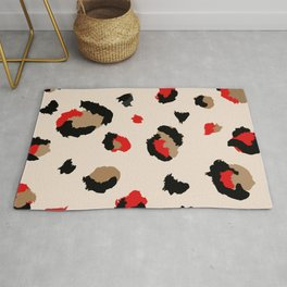 Red Lipstick and Leopard Kisses Rug