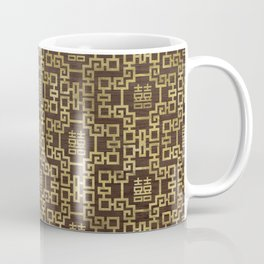 Chinese Pattern Double Happiness Symbol Gold on Wood Coffee Mug