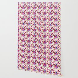 Pink lilac blue watercolor botanical floral pattern Wallpaper
