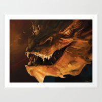 smaug Art Prints featuring Smaug by Wisesnail
