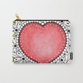 Watercolor Doodle Art | Heart Carry-All Pouch