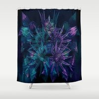 outer space Shower Curtains featuring Outer Space Flowers.. by Cherie DeBevoise