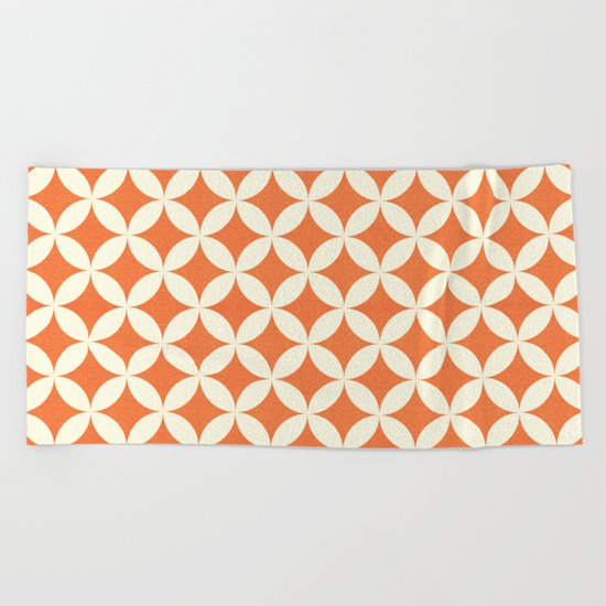 Orange & Cream Geometric Circles Pattern Beach Towel