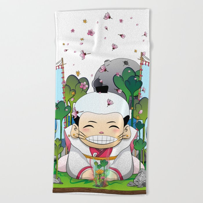 Fukusuke and the magic forest Beach Towel