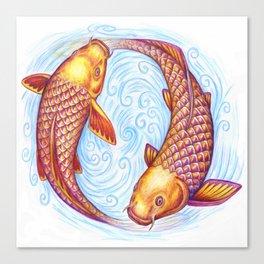 Pisces Fish Yin Yang Mandala Canvas Print