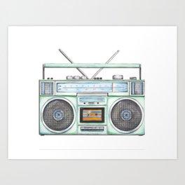 Vintage Boombox - Watercolor Boombox - 80's Art - Music - Stereo - Radio Art Print