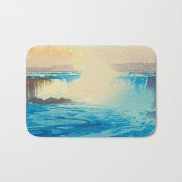 Niagara Falls Vintage Beautiful Japanese Woodblock Print Hiroshi Yoshida Bath Mat