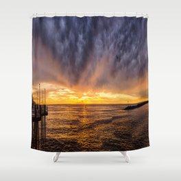 Redondo Beach Stormy Sunset Shower Curtain