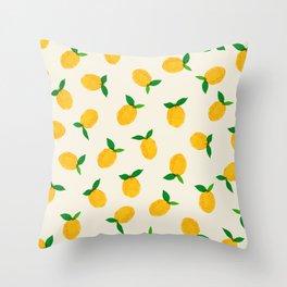 Lemon_Yellow_Pattern_01 Throw Pillow