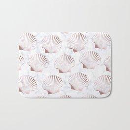 Girly rose gold seashell pattern & white marble Bath Mat