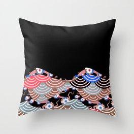 Nature background with japanese sakura flower Cherry, black wave circle pattern Throw Pillow