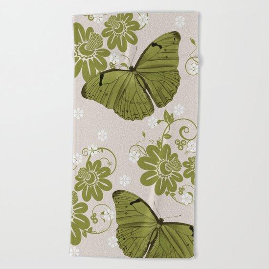 Green Butterflies & Flowers Beach Towel