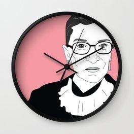 Ruth Bader Ginsburg, pink Wall Clock