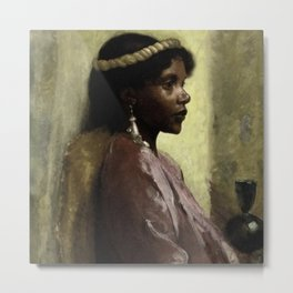 African American Masterpiece, Nubian Beauty portrait painting by Tobias Andreae Metal Print