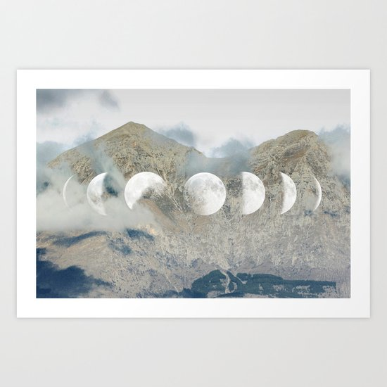 Moonrise Mountains Art Print