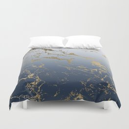 Modern grey navy blue ombre gold marble pattern Duvet Cover