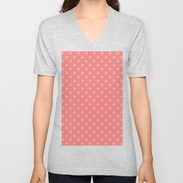 White on Coral Pink Snowflakes Unisex V-Neck