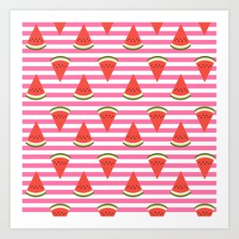 watermelon fruit stripes food fight apparel and gifts Art Print