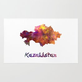 Kazakhstan in watercolor Rug